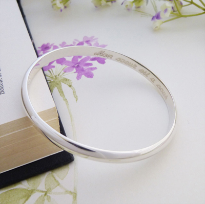 engraved ladies sterling silver bangle