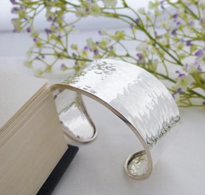 wide hammered cuff bangle