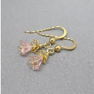 Czech glass gold vermeil flower earrings