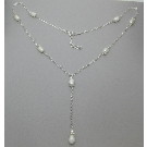 Alyssa pearl and sterling silver short drop necklace