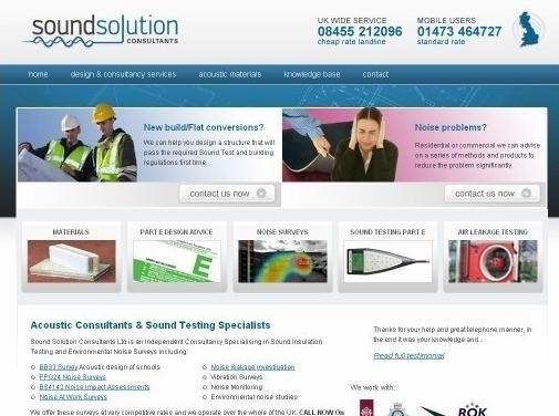 https://www.soundsolutionconsultants.co.uk/ website