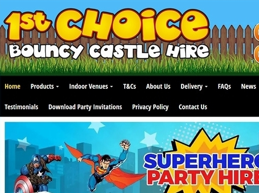 https://www.firstchoicebouncycastlehire.co.uk/ website