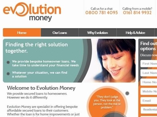 https://www.evolutionmoney.co.uk/ website